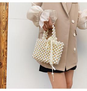 2021 New Retro woven Mary pearl handbag fashion lady party with shoulder bag bag basket pearl lady bag Handbag