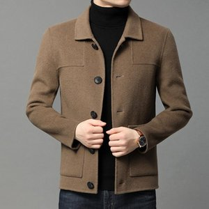 Men's tweed winter coat with double breasted single collar