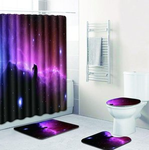ONGLYP 4pcs Shower Curtain Set 3D Galaxy Bathroom Curtains with Hooks Non Slip Bath Mat Toilet Cover Rugs Mat Home Decor