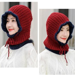 Winter Wool Knitted Scarf Hat Set Beanie Women Scarf Skullies Beanies Hats For Women Caps Gorras Bonnet Mask One-piece Cap