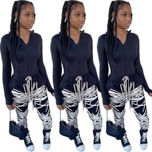 Trainingsanzüge Herbst Mode Lässige Reißverschluss Strickjacke 2-teilige Set Frauen Designer Kleidung Digitaldruck Frauen