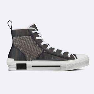 Hombres Blanco y negro High-Top Oblique Lona Sneaker High-Top Shoes de flores grises reflectantes para mujeres con caja