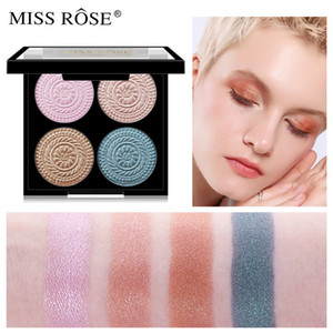 Miss Rose 4 Color Matte Shimmer Eyeshadow Palette Diamond Glitter Waterproof Pigment Highlighter Eye Shadow Powder Eye Makeup Cosmetics