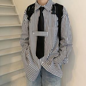 Manica lunga a strisce 2020 Nuova moda coreana Ruffian Handsome Autumn Plaid Cappotto da uomo