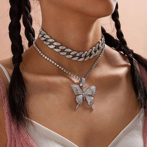 Karopel Retro Suit Cuban Chain Big Butterfly Necklace for Women Iced Out Butterfly Necklace Set Hip Hop Pendant Jewelry