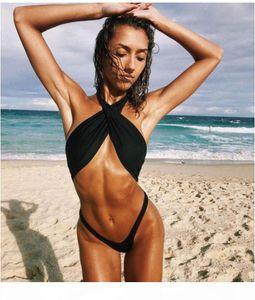 Designer Swimsuit Women Summer Sexy Slim 2 Piece Sets Solid Color Halter Sleeveless Bikinis Fashion Women Swimsuits