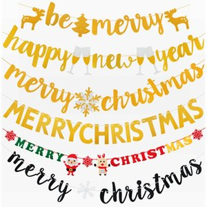 1Set Christmas Banner Gold Merry Christmas Paper Banner Happy New Year Letter Garland for Xmas New Year Party Hanging Decoration