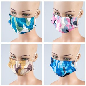 2021 3D Camo Fashion Designer Christmas Disposable Face Mask Adult New Year Disposable Three-layer Protective Thickened Party Mask FY0112