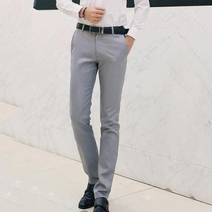 Autumn Men Fashion Solid Color Casual Pants Men Straight Slight Elastic Ankle-Length High Quality Formal Trousers