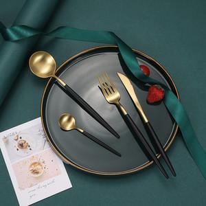 Portugal acero inoxidable vajilla traje de filete cuchillo tenedor cuchara cuchara vajilla conjunto mate cocina cena placas kit de placas cuatro cubiertos 21 6wx b2