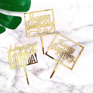 Distintivo Happpy Cumpleaños Acrílico Cake Topper Dorada de Cumpleaños Decoraciones para hornear para Baby Party Supplies Nuevo