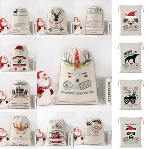 DHL Shipping Canvas Christmas Sants Bag Large Drawstring Candy Bags Xmas Santa Sacks Gift Bags for Christmas Decoration Kimter-B278F