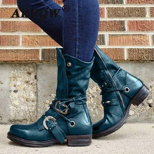 Women's Leather Boots Autumn High Quality Ankle Shoes Non Slip Motorcycle Zipper Thick Bottom Female Cross-tied Botas Mujer