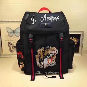 İtalya Tiger Arı Çiçek Tuval Nakış Techpack Tasarımcı Seyahat Çantası Mans Sırt Çantası L'Aveugle Par Amour Omuz Çantaları 429037 K1N1X