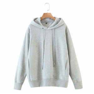 Evfer Women Autumn Casual Long Sleeve Solid Cotton Loose Hoodies Female Fashion Drawstring Collar Hooded Gray Pullover Warm Tops B1203