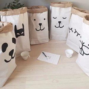 Popular heavy kraft paper bag,Animal Letter Cross Paper Storage Bags,Toys Clothes Kids Wall Pocket Children Room, 2PCS LOT J1207