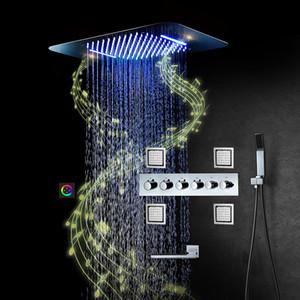 블루투스 음악 스마트 샤워 헤드 레인 샤워 패널 LED 샤워 시스템 블랙 크롬 샤워 수도꼭지 설정 사각형
