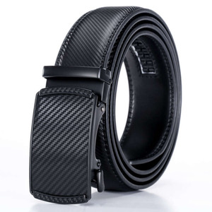 Men's business automatic high grade striped belt double layer cow leather