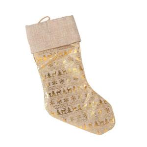 In Stock Christmas Stockings Creative Golden Bronzing Gift Bag Large Candy Socks Christmas Pendant Decoration
