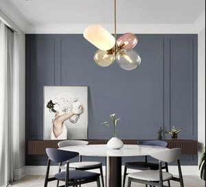 Color balloon lamp balloon glass chandelier modern simple dining room living room bedroom candy color coffee shop bar counter Chandelier