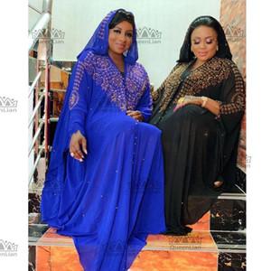 2020 New African Design Bazin Chiffon Long Stick Diamond Sleeve Dashiki Dress For Lady Q1202