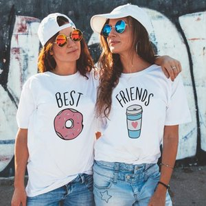 BFF Female T shirt Best Friends T Shirt Harajuku Kawaii Paired shirts White Tshirt New Arrival 2019 Tumblr Tshirt Streetwear