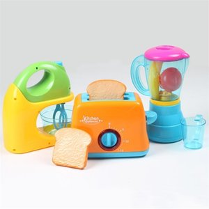 Kids Pretend Play Sets Simulation Toasters Bread Maker coffee machine Blender Baking Kit Game mixer Kitchen role toy Y200428