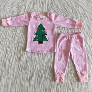 Baby clothes embroidery Christmas tree polka dot girl cotton pajamas children's clothing new designer clothing personality pink pants suit