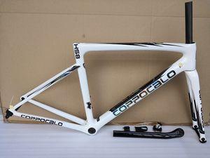 Superlight 2019 Carbon Road Cadre Coppocalo HS8 White Shiny T1100 Lumière 850g Cadre de vélo de bicyclette en fibre de carbone complet