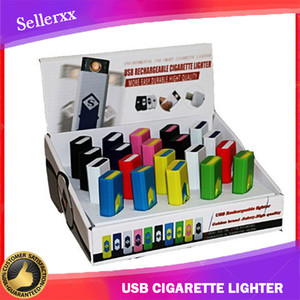 Rechargeable electronic cigarette USB flameless Cigar Lighter With Display Box also offer arc torch gas lighters Smoking Tools Accessories