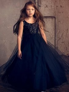 New Ball Gown Flower Girls Dresses Puffy Tulle Floor Length First Communion Dresses Girls Pageant Gown Custom Made Cheap