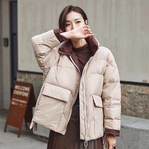 Женщины Parkas женские korean версия белая утка куртка зимняя стойка воротник свободное пальто женское теплый короткий снег
