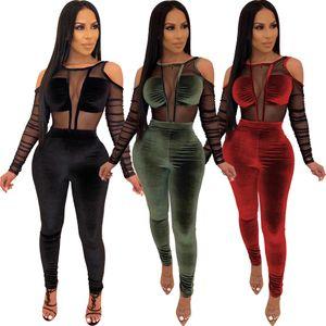 Women Velvet Mesh Patchwork Jumpsuit Sexy Long Sleeve Elegant Rompers Autumn Winter See Through Long Overalls Plus Size