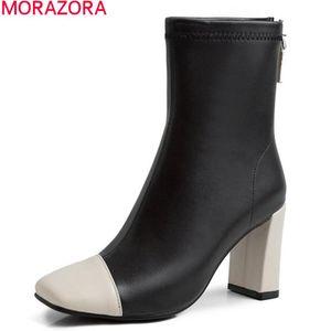 Botlar Morazora 2021 Varış Moda Ayak Bileği Hakiki Deri Kalın Yüksek Topuklu Kare Toe Karışık Renkler Kadınlar