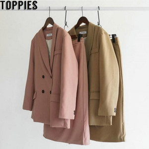 Toppies 2020 Spring Women Blazer Suits Doule Breasted Pink Blazer High Waist Skirt Office Lady Sets F1207