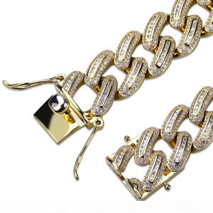 Iced Out Man Bracelet Hip Hop gold chain for man Jewelry new mens Bracelets stainless steel High grade 18mm white Zircon jewelry wholesale