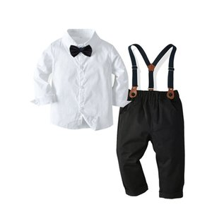 Baby Boys Set 2020 New Kids Formal Wear Boys Gentleman Shirt Suspenders Send Bow Tie Suit Children Evening Dress Four-piece Suit Y1113