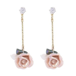 New French Rose Earrings Jewelry Retro Palace Style Three-dimensional Long Flower Sweet Beautiful And Gentle Earrings For Women sqcHGW