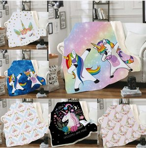 200*150cm Double Layers Blanket Thicken 3D Digital Printing Unicorn Butterfky Blankets Sofa Cover Home Textiles SEASHIPPING LJJP813