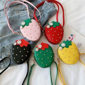 Baby Girls Strawberry Messenger Bag PU Leather 2021 Cartoon Cute Kids Mini rivet Shoulder bag Boutique Coin Purse Korean version Handbag