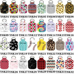 Keychains Sports Printed Hand Sanitizer Bottle Cover Bags Soap Chapstick Holder Fashion Accessories Party Gift 68 Designs OWB3031