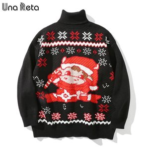 Una Reta Christmas Jumper Men's Sweater New Winter Turtleneck Pullover Men Sweater Pull Homme Loose Lovely Print Men