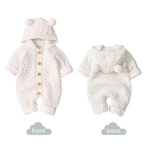 3-24m Bebê de Cabelo Bebê Roupa Recém-nascido Borracho Sólido Macacão Breasted Jumpsuit Bonito Bonito Menino Meninas Com Capuz Outfit J1203