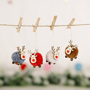 Cute Felt Wooden Elk Christmas Tree Decorations Hanging Pendant Deer Craft Ornament Christmas Decorations For Home New Year 2021 w-00502