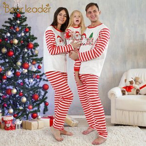 Bear Leader-Familie, die neue Mode-Weihnachts-Party-Outfits-Karikatur-gestreiftes Druck-Kleidung-Anzüge 2pcs-Kinderanzug