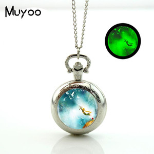 2020 New Glowing The Little Pocket Watch Chain Watch Necklace Vintage Bronze Round Locket Jewelry Glow Pendant
