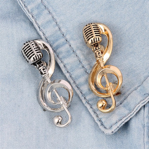 Note Microphone Brooch Fashion Retro Music Alloy Pin Alloy KC Gold Plated Broche Lady Man New Arrival 3 5kf p2