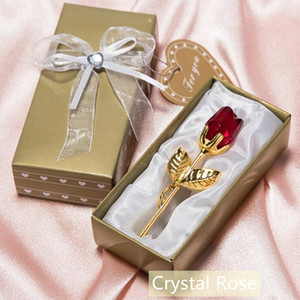 Romantic Wedding Gifts Multicolor Crystal Rose Favors With Colorful Box Party Favors Baby Shower Souvenir Ornaments For Guest Z624