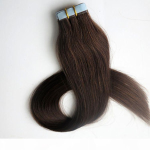 Top Quality 50g 20pcs Glue Skin Weft Tape in human Hair Extensions 18 20 22 24inch #2 Darkest Brown Brazilian Indian hair