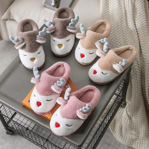 Women Winter Home Slippers Cartoon Deer Elk Non-slip Soft Warm House Shoes Men Ladies GIrs Indoor Bedroom Couples Floor Footwear 201203